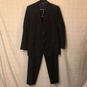 Hickey Freeman Navy 100% wool 2 piece suite sz 44R